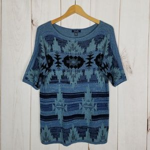 Chaps Ralph Lauren Blue Aztec Sweater NWOT